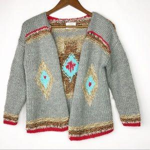 ZARA Girl's Woven Knit Tribal Cardigan Sweater